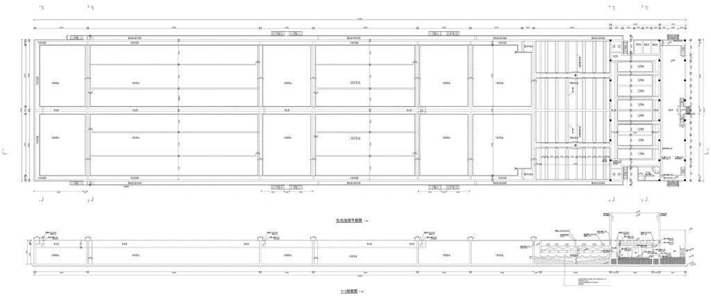 图片[1]-1.35万吨/日规模生化池结构设计过程-金瓦刀
